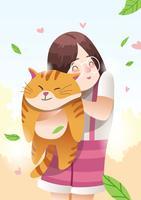 Menina e seu gato vetor