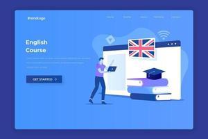 conceito de página de destino de ilustração de curso de inglês vetor