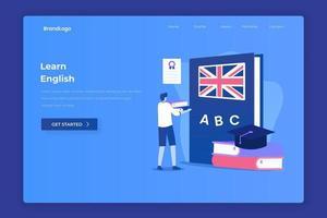 página de destino da ilustração da lição de inglês vetor