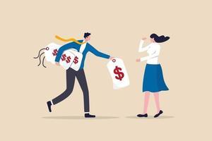 modelo de preços de negócios, empresário oferece opção de etiqueta de preço para o cliente ou cliente escolher vetor