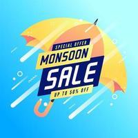 venda de oferta especial de monção com até 50% de desconto no banner. vetor