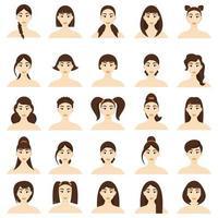 conjunto de penteados de mulheres. lindas meninas morenas com diferentes penteados isolados em um fundo branco vetor