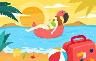 meninas no conceito de férias de verão vetor