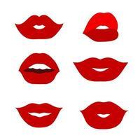 conjunto de ícones simples com ilustração vetorial de lábios vetor