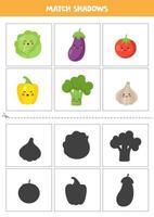 encontrar sombras de lindos cartões de vegetais sorridentes para crianças vetor