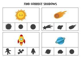 Encontre a sombra correta do espaço Clipes para imprimir jogos de cartas para crianças vetor