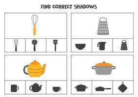 Encontre a sombra correta dos utensílios de cozinha, jogos de cartas para imprimir para crianças vetor