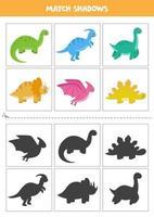 encontrar sombras de lindos cartões de dinossauros para crianças vetor