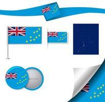 bandeira de tuvalu com elementos vetor