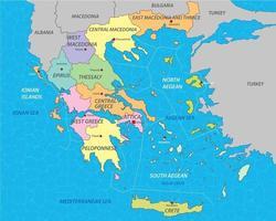 mapa da grécia com estados vetor