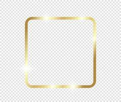 moldura dourada luxo vintage realista ouro brilhante brilhante com sombras isoladas em fundo transparente vetor
