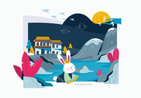 Chuseok Coreano Harvest Festival Background Vector Ilustração Plana