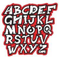 preto e branco urbano moderno com tipografia de graffiti com traço vermelho vetor
