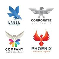 coleção de logotipo comercial de águia, falcão e falcão vetor