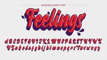 grafite em 3D cursivo vermelho com tipografia personalizada de desenho animado vetor