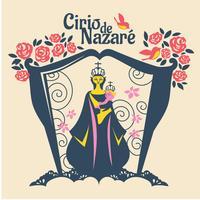 Ilustração plana de Nossa Senhora da Nazaré ou Cirio de Nazaré vetor