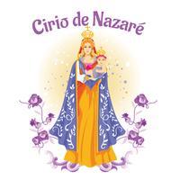Bela Nossa Senhora de Nazaré ou Cirio de Nazaré Ilustração vetor