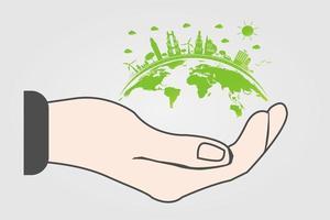 o mundo em suas mãos conceito de ecologia vetor