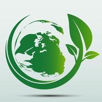 conceito de terra verde com folhas vetor