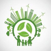 ecologia familiar e conceito ambiental com folhas verdes em torno das cidades vetor