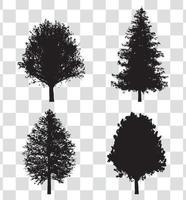 conjunto de silhueta de árvore vetor