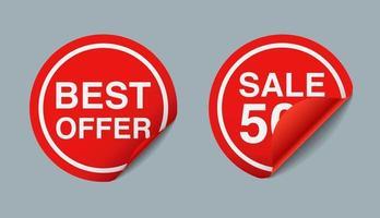 Venda de etiquetas de preços de adesivo vermelho 3D, ilustração vetorial vetor