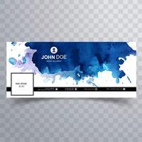 Modelo de capa do cronograma de facebook aquarela vetor