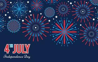 4 de julho, dia da independência americana com fogos de artifício planas vetor