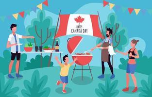 festa de churrasco em família no dia do canadá vetor