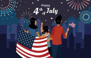 fogos de artifício do quarto de julho do dia da independência vetor