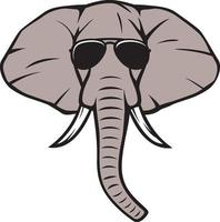 cabeça de elefante com óculos de aviador vetor