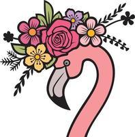cabeça de flamingo com flores vetor