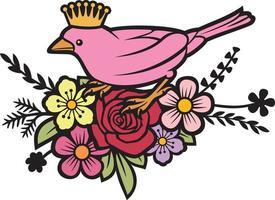 pássaro em flores vetor