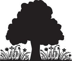 árvore e flores vetor