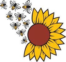 girassol e abelha vetor