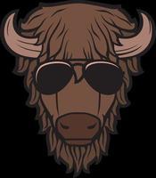 cabeça de bisão com óculos de aviador vetor