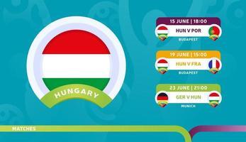 seleção nacional da hungria agendar jogos na fase final do campeonato de futebol de 2020 ilustração vetorial de jogos de futebol de 2020 vetor