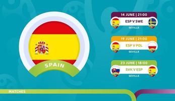 seleção nacional de espanha agenda jogos na fase final do campeonato de futebol de 2020 ilustração vetorial de jogos de futebol de 2020 vetor