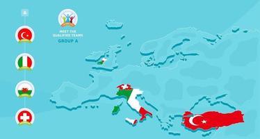 agrupe uma ilustração em vetor do campeonato europeu de futebol de 2020 com um mapa da europa e a bandeira dos países destacados que se qualificaram para a fase final e o logotipo assine no fundo azul