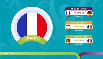 a seleção nacional da frança agenda jogos na fase final do campeonato de futebol de 2020 ilustração vetorial de jogos de futebol de 2020 vetor