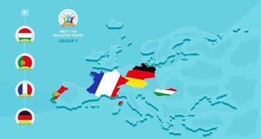 Grupo f ilustração em vetor campeonato europeu de futebol de 2020 com um mapa da europa e a bandeira dos países destacados que se qualificaram para a fase final e o logotipo assina