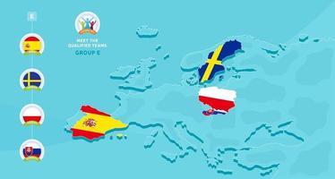 Ilustração em vetor grupo e campeonato europeu de futebol de 2020 com um mapa da europa e a bandeira dos países destacados que se qualificaram para a fase final e o logotipo assina no fundo azul