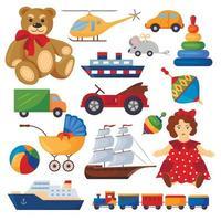 conjunto colorido de brinquedos infantis vetor