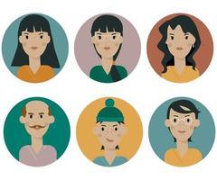 um conjunto de ícones de avatar feminino e masculino em um fundo branco vetor