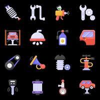ícones de oficina de automóveis e serviço de lavagem de carros vetor