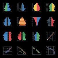 ícones planos de pirâmides populacionais vetor