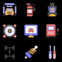 ícones de serviço de manutenção de carro vetor