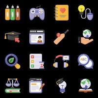 ícones de educação e conhecimento vetor