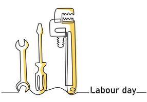 chave de fenda, chave inglesa, chave de fenda de linha contínua única com letras do dia do trabalho. Celebração de 1º de maio. conceito do dia do trabalho feliz isolado no fundo branco. ilustração de esboço de ferramentas de reparo de vetor