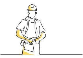 único desenho de linha contínua de jovem bonito trabalho no uniforme e capacete isolado no fundo branco. edifício conceito de serviço de construção uma linha estilo minimalista de arte. ilustração vetorial vetor